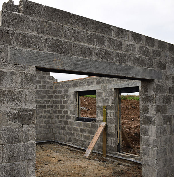 lintels used in construction of a garage